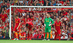 26.08.2012, Anfield, Liverpool, ENG, Premier League, FC Liverpool vs Manchester City, 2. Runde, im Bild Liverpool's Sebastian Coates, Martin Kelly, Joe Allen, goalkeeper Jose Reina and Martin Skrtel look dejected as Manchester City score the first equalising goal during the English Premier League 2nd round match between Liverpool FC and Manchester City at Anfield, Liverpool, Great Britain on 2012/08/26. EXPA Pictures © 2012, PhotoCredit: EXPA/ Propagandaphoto/ David Rawcliff..***** ATTENTION - OUT OF ENG, GBR, UK *****