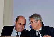 Roma 16 Gennaio 2013.Il Rettore dell' Università La Sapienza Luigi Frati con Nicola Zingaretti, candidato alla Presidenza della Regione Lazio per il centrosinistra