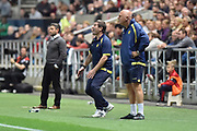Burton Albion manager Nigel Clough reacts whilst Burton Albion first team coach Andy Garner watches on during the EFL Sky Bet Championship match between Bristol City and Burton Albion at Ashton Gate, Bristol, England on 13 October 2017. Photo by Richard Holmes.