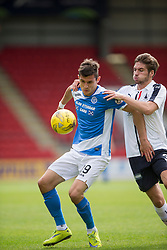 St Johnstone's Gary Miller and Falkirk's Luke Leahy. St Johnstone 3 v 0 Falkirk, Group B, Betfred Cup, played 23/7/2016 at St Johnstone's home ground, McDiarmid Park.
