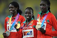 ATHLETICS - IAAF WORLD CHAMPIONSHIPS 2011 - DAEGU (KOR) - DAY 1 - 27/08/2011 - WOMEN 10000M - SALLY KIPYEGO (ETH) / 2ND - VIVIAN JEPKEMOI CHERUIYOT (ETH) / WINNER - LINET CHEPKWEMOI MASAI (ETH) / 3RD - PHOTO : FRANCK FAUGERE / KMSP / DPPI