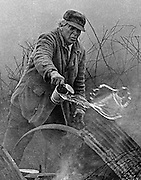 DOING HIS PART--And with another tin of water he douses the last of the flames which consumed his barn.