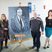 24.03.2017            <br /> Limerick Civic Trust, Marjorie Daly commissioned Jim Kemmy Portrait unveiling by Jan O'Sullivan TD at the Kemmy Business School, University of Limerick. <br /> <br /> Pictured at the event were, Marjorie Daly, Artist, Joe Kemmy brother of Jim Kemmy and Sarah Hartnett, UL Foundation. Picture: Alan Place