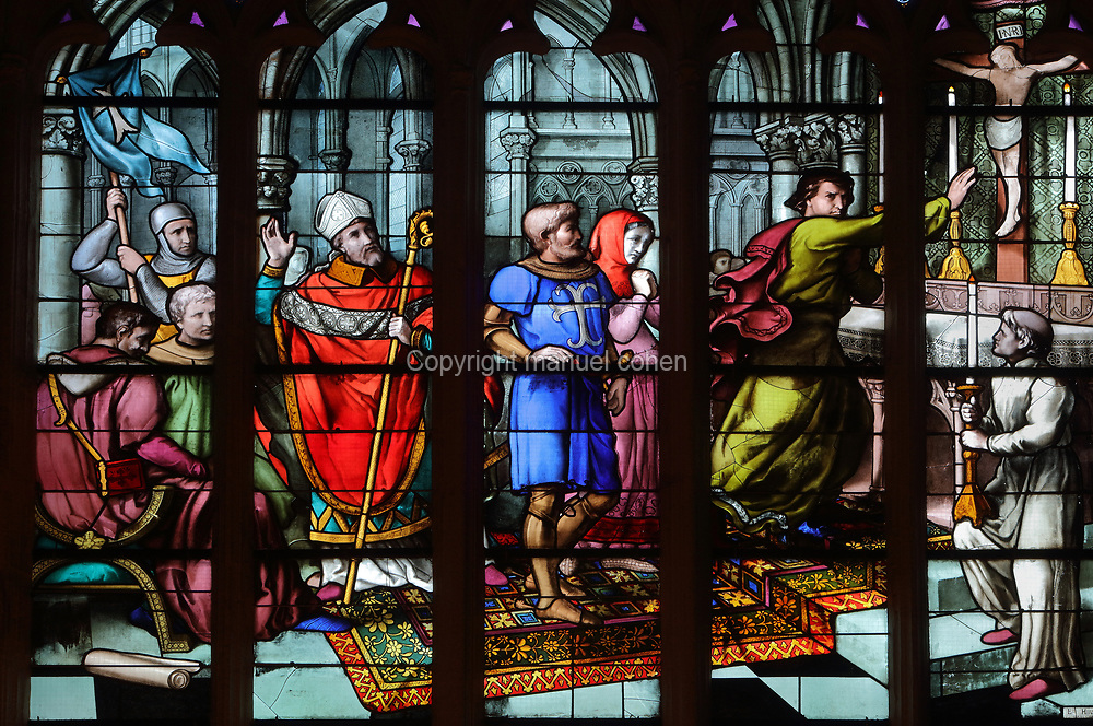 Stained glass window depicting the act of perjury before the knight and his wife, a bishop and judges, when the knight's friend denies him and the crucifixion statue leaks 3 drops of blood, 1869, detail, by Emil Hirsch, 1832-1904, in the Chapelle des Trois Gouttes de Sang, in Quimper Cathedral, or the Cathedrale Saint-Corentin de Quimper, a Gothic Roman Catholic cathedral founded in 1239 and completed in the 15th century, in Quimper, Finistere, Brittany, France. The cathedral is listed as a national monument. Picture by Manuel Cohen