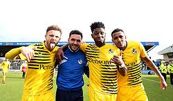 Matt Taylor, Jake Gosling, Ellis Harrison and Cristian Montano of Bristol Rovers celebrate the comeback draw at Northampton Town - Mandatory by-line: Robbie Stephenson/JMP - 09/04/2016 - FOOTBALL - Sixfields Stadium - Northampton, England - Northampton Town v Bristol Rovers - Sky Bet League Two
