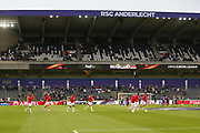 Manchester United players come on to the pitch for warm up during the UEFA Europa League Quarter-final, Game 1 match between Anderlecht and Manchester United at Constant Vanden Stock Stadium, Anderlecht, Belgium on 13 April 2017. Photo by Phil Duncan.