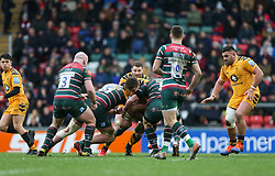 Will Rowlands of Wasps is halted by the Leicester Tigers defence - Mandatory by-line: Arron Gent/JMP - 15/02/2020 - RUGBY - Welford Road Stadium - Leicester, England - Leicester Tigers v Wasps - Gallagher Premiership Rugby
