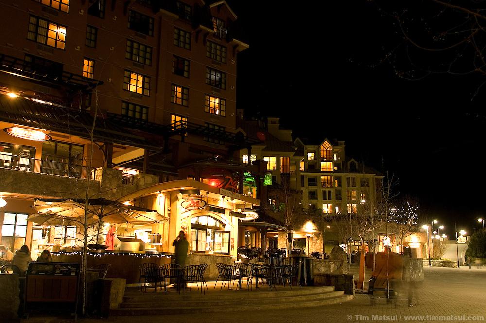 Night at Whistler-Blackcomb ski resort in British Columbia, Canada.