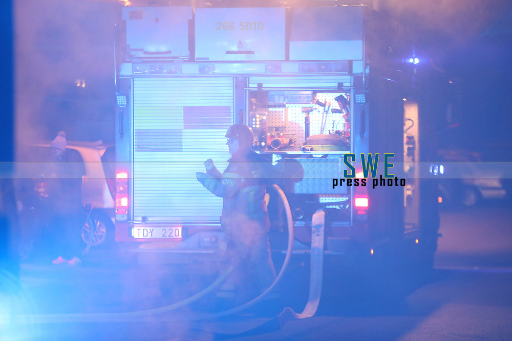 2020-02-13 | Olofström, Sweden:  A fire started in a recycling station in Olofström, Sweden. The police will start an investigation to find out how the fire was caused (Photo by: Simon Nilsson | Swe Press Photo)<br /> <br /> Keywords: Ambulansen, Polisen, Räddningstjänsten, brand, sophus, utredning