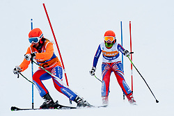 GALLAGHER Kelly Guide:  EVANS Charlotte, GBR, Super Combined, 2013 IPC Alpine Skiing World Championships, La Molina, Spain