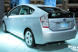 11 February 2009:  2009 TOYOTA PRIUS: With the redone 2010 Prius to be on display at the Chicago Auto Show, the unchanged '09 model is much like it has been. Rated the best-selling gas-electric hybrid vehicle in the United States and the world, Prius seats five passengers and can achieve 650 miles between fill-up. The Prius Hybrid Synergy Drive combines a 1.5-liter four-cylinder Atkinson Cycle gasoline engine and an electric drive motor. The gasoline engine uses variable valve timing, produces 76 horsepower, and when combined with the permanent-magnet electric drive motor, generates a total of 110 horses. All models come standard with an electronically controlled planetary gear-type continuously variable transmission. The upgraded Touring Edition offers European-inspired suspension and 16-inch alloy wheels, a larger rear spoiler, High Intensity Discharge (HID) headlamps and integrated fog lamps. Prius' liftback design, combined with the 60/40 split fold-down rear seatbacks, provides 14.4 cubic feet of cargo room.. The Chicago Auto Show is a charity event of the Chicago Automobile Trade Association (CATA) and is held annually at McCormick Place in Chicago Illinois.