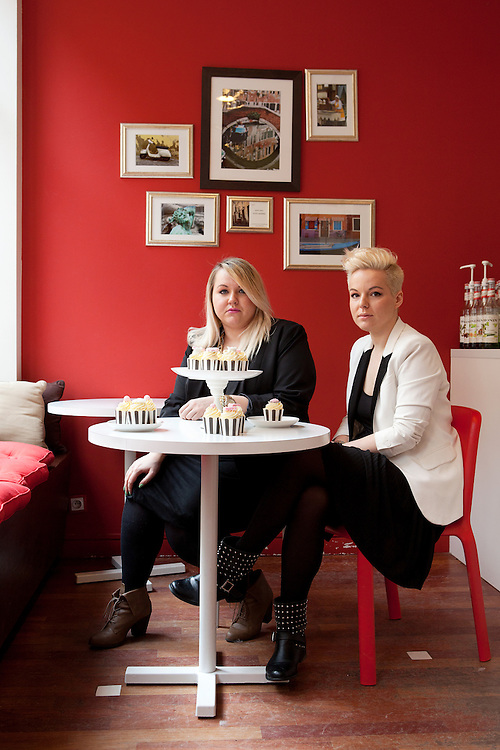 """Warsaw, Poland, March 3, 2013. Paulina and Weronika Papadrowska, Polish sisters, 25 and 28 years old, founded together """"So sweet project"""". Paulina and Weronika make decorated cupcakes for parties, special events, business meetings created with an original style in decoration and shape."""