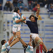 Patricio Albacete, Argentina wins a line out from Lionel Nallet, France,  during the Argentina V France test match at Estadio Jose Amalfitani, Buenos Aires,  Argentina. 26th June 2010. Photo Tim Clayton...
