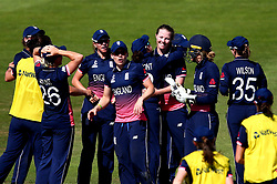 Anya Shrubsole of England Women celebrates with teammates after taking the wicket of Laura Wolvaardt of South Africa Women - Mandatory by-line: Robbie Stephenson/JMP - 05/07/2017 - CRICKET - County Ground - Bristol, United Kingdom - England Women v South Africa Women - ICC Women's World Cup Group Stage