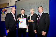 "In the SCCUL Entrepreneurship AWARDS 2012  Category Award ""Online"" announced by.Anthony Ryan.Chairman Galway City Business Association presented by.Padraig O'Callaghan (rhs)Board Member SCCUL Enterprises Ltd.  to winners Stuff 4 Cakes Brendan jnr. and Audrey Corbett.PIcture:Andrew Downes"