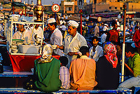 Food stalls, Jemaa el Fna (central square),  Marrakech, Morocco