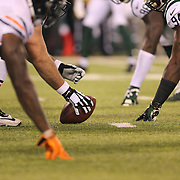 The Chicago Bears offensive line prepare to snap the ball at the line of scrummage during the New York Jets Vs Chicago Bears, NFL regular season game at MetLife Stadium, East Rutherford, NJ, USA. 22nd September 2014. Photo Tim Clayton for the New York Times