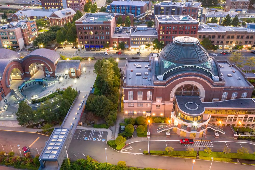 United States, Washington,Tacoma.  Union Station and Washington State History Museum (aerial view)