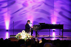 20 November 2015. Orpheum Theater, New Orleans, Louisiana. <br /> Memorial service for musician Allen Toussaint. <br /> Dr John, Mac Rebennack performs on stage.<br /> Photo; Charlie Varley/varleypix.com
