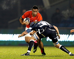 Mako Vunipola of Saracens is tackled by Magnus Lund (c) of Sale Sharks - Mandatory by-line: Robbie Stephenson/JMP - 18/12/2016 - RUGBY - AJ Bell Stadium - Sale, England - Sale Sharks v Saracens - European Champions Cup