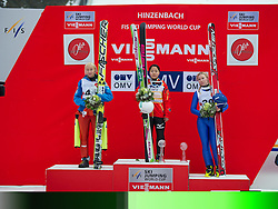 02.02.2014, Energie AG Skisprung Arena, Hinzenbach, AUT, FIS Ski Sprung, FIS Ski Jumping World Cup Ladies, Hinzenbach, Wettkampf, im Bild das Siegerpodest in Hinzenbach 2. Platz #45 Daniela Iraschko-Stolz (AUT), 1. Siegerin Sara Takanashi (JPN), 3. Platz Julia Kykkaenen (FIN) // during FIS Ski Jumping World Cup Ladies at the Energie AG Skisprung Arena, Hinzenbach, Austria on 2014/02/02. EXPA Pictures © 2014, PhotoCredit: EXPA/ Reinhard Eisenbauer