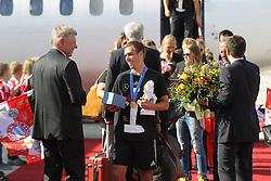 15.07.2014, Flughafen, München, GER, FIFA WM, Empfang der Weltmeister in Deutschland, Finale, im Bild Philipp Lahm #16 (Deutschland) kommt aus der Maschine und wird von Dieter Reiter (Oberbuergermeister Muenchen) begruesst // during Celebration of Team Germany for Champion of the FIFA Worldcup Brazil 2014 at the Flughafen in München, Germany on 2014/07/15. EXPA Pictures © 2014, PhotoCredit: EXPA/ Eibner-Pressefoto/ Kolbert<br /> <br /> *****ATTENTION - OUT of GER*****