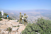 Israel, Upper Galilee, Manara cliff, on the Lebanese border overlooking the Hula Valley. Israeli soldiers on patrol at the tourist attraction site