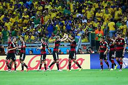 08.07.2014, Mineirao, Belo Horizonte, BRA, FIFA WM, Brasilien vs Deutschland, Halbfinale, im Bild Kollegitiver Jubel bei der deutschen Mannschaft. // during Semi Final match between Brasil and Germany of the FIFA Worldcup Brazil 2014 at the Mineirao in Belo Horizonte, Brazil on 2014/07/08. EXPA Pictures © 2014, PhotoCredit: EXPA/ Eibner-Pressefoto/ Cezaro<br /> <br /> *****ATTENTION - OUT of GER*****