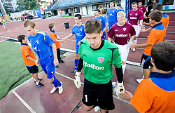 Gregor Balazic and Goalkeeper of Lahti Viktor Szentpeteri at 1st football match of 2nd preliminary Round of UEFA Europe League between ND Gorica and FC Lahti, on July 16 2009, in Nova Gorica, Slovenia. (Photo by Vid Ponikvar / Sportida)