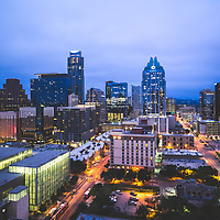 Austin Texas skyline at night photo. Austin, TX is a major city in the Southwestern United States of America. Picture was taken in 2016.