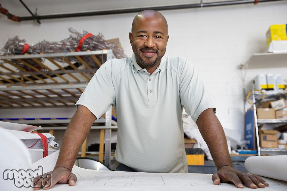 Workman Reading a Blueprint