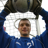 St Johnstone Training...21.02.03    Keeper Kevin Cuthbert looking forward to the Celtic cup game on Sunday.<br />