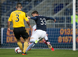 Falkirk's Rory Loy scoring their second goal.<br /> Falkirk 4 v 1 Livingston, Scottish Championship game played today at the Falkirk Stadium.<br /> &copy;Michael Schofield.