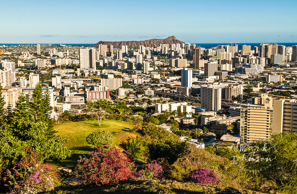 """Honolulu & Diamond Head as seen from Puowaina crater, popularly known as """"Punchbowl"""", Oahu, Hawaii"""