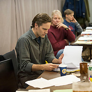 "November 20, 2012 - New York, NY : Director Davis McCallum, at center in green shirt, during an  early rehearsal for ""Water by the Spoonful"" at Second Stage Theatre on West 43rd Street in Manhattan on Tuesday night. The play, by Quiara Alegria Hudes, won the 2012 Pulitzer Prize for drama. CREDIT: Karsten Moran for The New York Times"