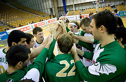 Team of Olimpija after Superpokal basketball match between KK Union Olimpija and Elektra Esotech, on September 27, 2009, in Arena Tivoli, Ljubljana, Slovenia.  (Photo by Vid Ponikvar / Sportida)