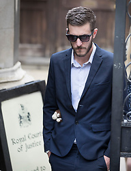© Licensed to London News Pictures. 10/07/2017. Chris Gard wears a small teddy bear soft toy in his pocket as he leaves The High Court. The parents of terminally ill Charlie Gard are returning to court in light of claims of new evidence relating to potential treatment for his condition. An earlier lengthy legal battle ruled that Charlie could not be taken to the US for experimental treatment. London, UK. Photo credit: Peter Macdiarmid/LNP