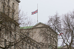 Scotland Yard, London, March 23rd 2017. Flags fly at half mast from the Department of Defence in the aftermath of Tuesday's terrorist attack on Westminster Bridge and in the grounds of Parliament, in which four people and their attacker were killed with over 40 injured.