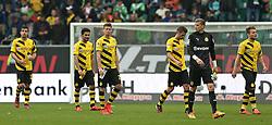 Football: Germany, 1. Bundesliga, VfL Wolfsburg - Borussia Dortmund (BVB), Wolfsburg - 16.05.2015,<br /> Ciro Immobile (Dortmund) and his team mates dejected<br /> <br /> &copy; pixathlon<br /> <br /> +++ NED out !!! +++