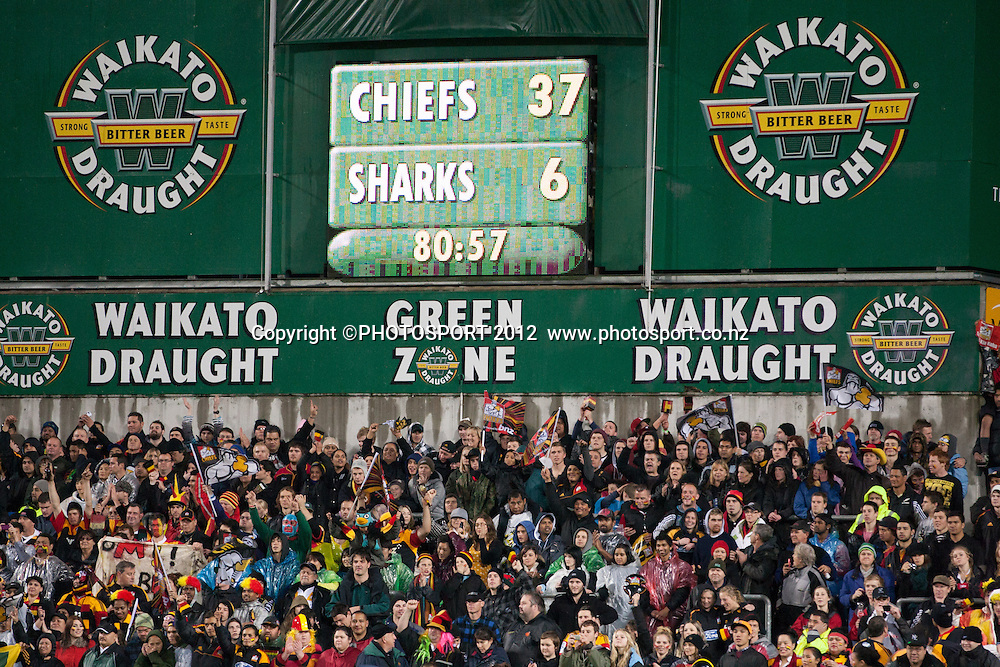 The scoreboard at full time after the Investec Super Rugby final between Chiefs and Sharks won by Chiefs 37-6 at Waikato Stadium, Hamilton, New Zealand, Saturday 4 August 2012. Photo: Stephen Barker/Photosport.co.nz