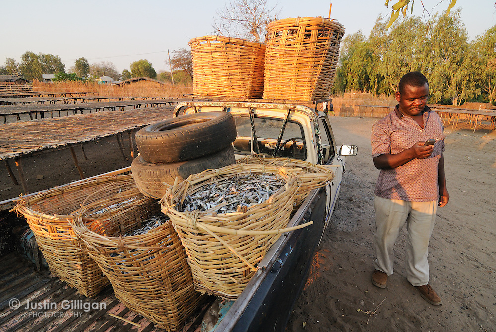 Achipala Endson (driver) loads baskets of dried usipa onto his pick-up for transport to major cities, Lake Malawi, Malawi.