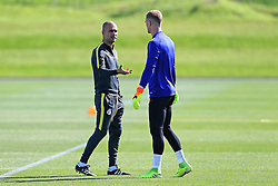 Manchester City manager Josep Guardiola talks with goalkeeper Joe Hart - Mandatory by-line: Matt McNulty/JMP - 23/08/2016 - FOOTBALL - Manchester City - Training session ahead of Champions League qualifier against Steaua Bucharest