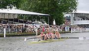 Henley, Great Britain.  Henley Royal Regatta. Paralympic GB Team Announcement,LTAMix4+, Lily VAN DEN BROECKE (cox), Pamela RELPH (bow), Naomi RICHES. David SMITH, James ROE (stroke), row past Stewards Enclosure. River Thames Henley Reach.  Royal Regatta. River Thames Henley Reach.  Wednesday  27/06/2012  [Mandatory Credit  Karon Phillips/ Intersport Images] . HRR.