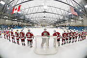 CVU lines up for player introductions during the boys hockey game between the Champlain Valley Union Red Hawks and the Essex Hornets at the Essex Skating Facility on Saturday evening January 28, 2017 in Essex. (BRIAN JENKINS/for the FREE PRESS)