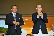 26.AUGUST.2011. MONACO<br /> <br /> UEFA PRESIDENT MICHEL PLATINI AND PRINCE ALBERT II OF MONACO TALK DURING THE UEFA SUPERCUP FOOTBALL MATCH BETWEEN FC BARCELONA AND FC PORTO AT THE MONACO STADIUM.<br /> <br /> <br /> BYLINE: EDBIMAGEARCHIVE.COM<br /> <br /> *THIS IMAGE IS STRICTLY FOR UK NEWSPAPERS AND MAGAZINES ONLY*<br /> *FOR WORLD WIDE SALES AND WEB USE PLEASE CONTACT EDBIMAGEARCHIVE - 0208 954 5968*