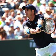 Andy Murray defeats Feliciano Lopez in a quarterfinal match on Stadium 1 at the 2015 BNP Paribas Open in Indian Wells, California on Thursday, March 19, 2015.<br /> (Photo by Billie Weiss/BNP Paribas Open)