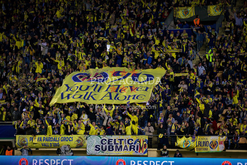 "VILLRREAL, SPAIN - Thursday, April 28, 2016: Villarreal supporters banner ""Ypu'll Never Walk Alone"" before the UEFA Europa League Semi-Final 1st Leg match against Liverpool at Estadio El Madrigal. (Pic by David Rawcliffe/Propaganda)"