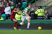 14th October 2017, Celtic Park, Glasgow, Scotland; Scottish Premiership football, Celtic versus Dundee; Celtic's Kristoffer Ajer and Dundee's Faissal El Bakhtaoui