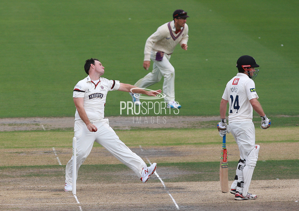 James Allenby bowls for Somerset during the LV County Championship Div 1 match between Sussex County Cricket Club and Somerset County Cricket Club at the BrightonandHoveJobs.com County Ground, Hove, United Kingdom on 14 September 2015. Photo by Bennett Dean.