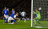 Picture by David Horn/Focus Images Ltd +44 7545 970036<br /> 14/11/2013<br /> Michael Keane of England Under 21 scores his team's first goal to make it 1-0 during the European U21 Championship match at stadium:mk, Milton Keynes.
